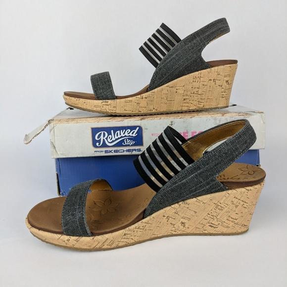 6c7cf44853e1 Skechers Beverlee Smitten Kitten Cork Wedge Sandal.  M 5b0494af6bf5a6628c94336a